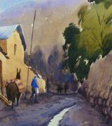 Watercolor Landscape - Village Road, 2011-detail-10538M
