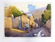 Watercolor Landscape - Village Road, 2011-matted-10538M