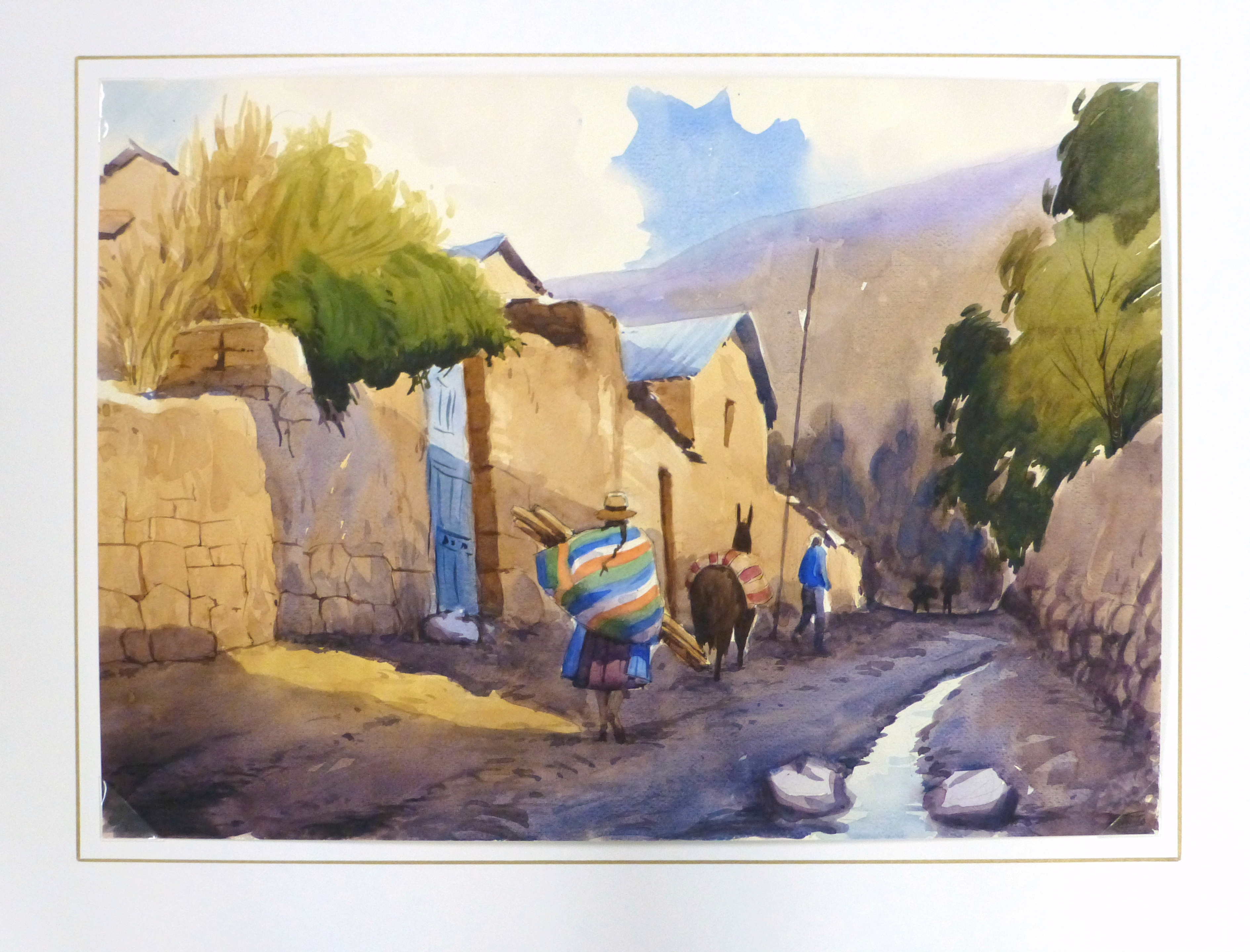 Watercolor Landscape - Village Road, 2011-matted-10538M