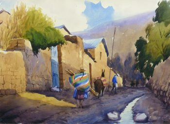 Watercolor Landscape - Village Road, 2011-main-10538M