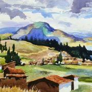 Watercolor Landscape - Lakeside Village, 2011-detail 2-10539M