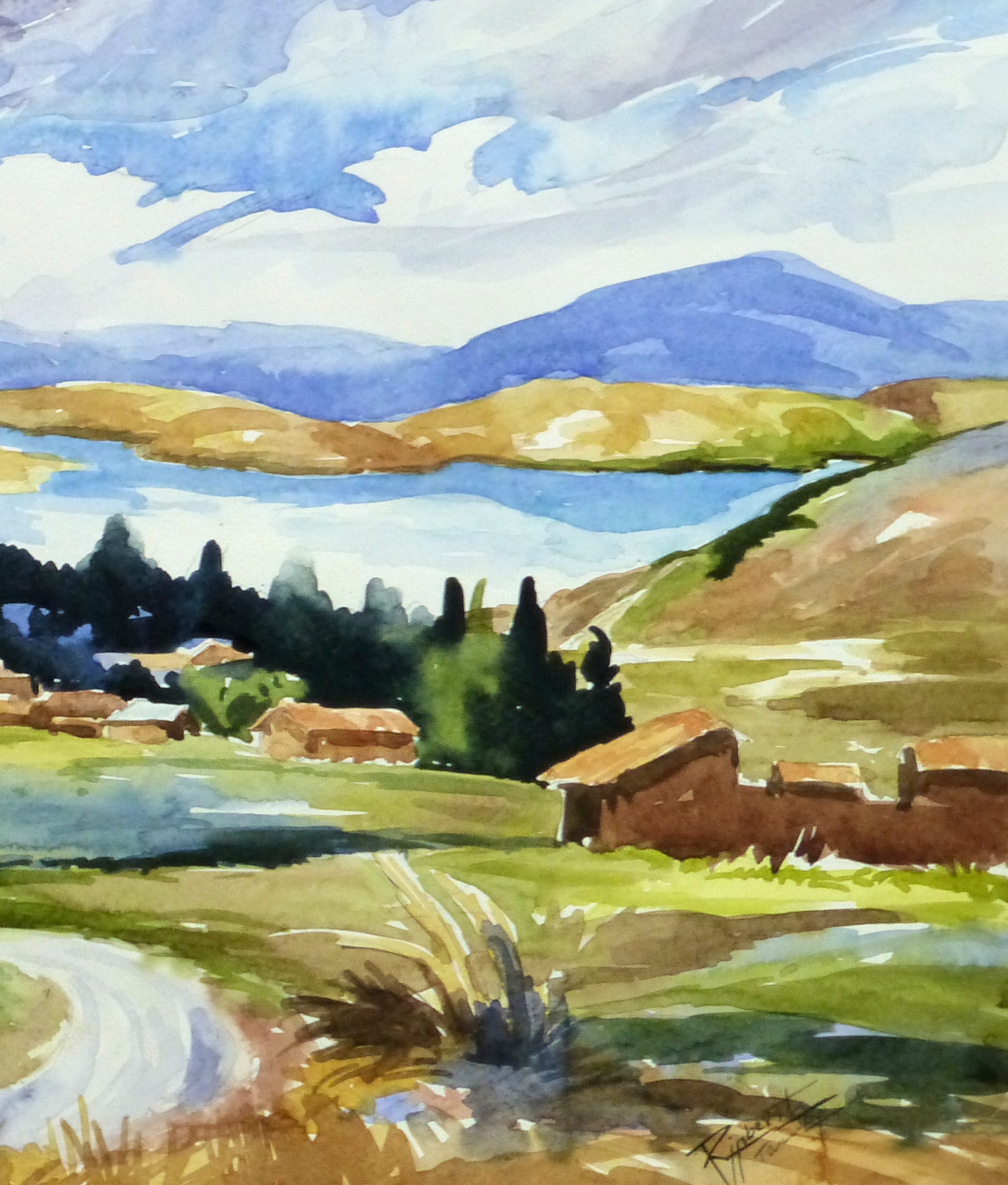 Watercolor Landscape - Lakeside Village, 2011-detail-10539M