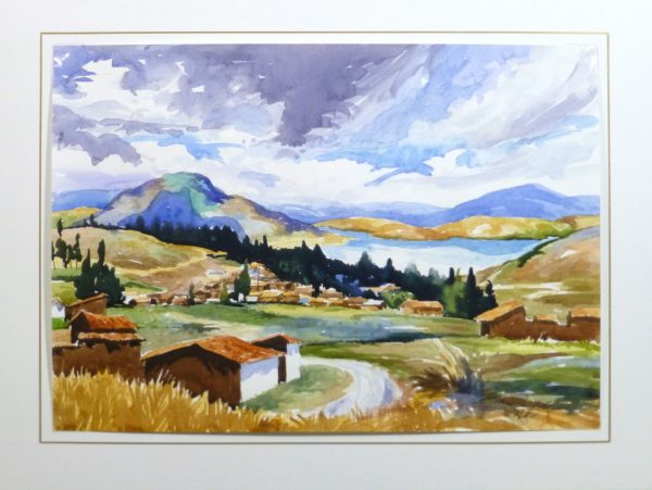 Watercolor Landscape - Lakeside Village, 2011-matted-10539M