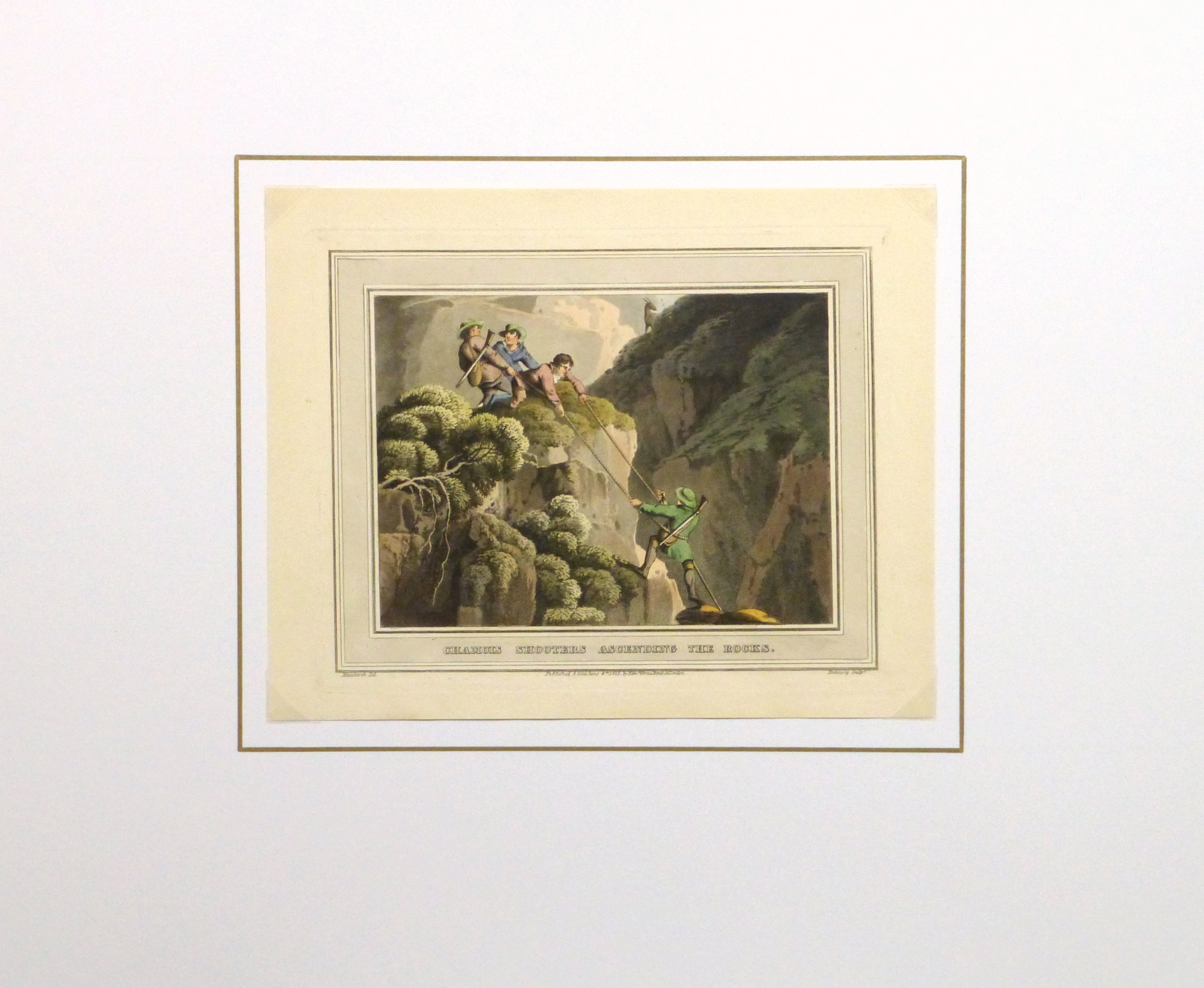 Aquatint Etching- Ascending the Rocks, 1813 -matted-10540M