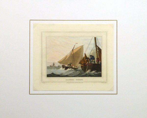 Aquatint Etching- Mackerel Fishing, 1813-matted-10541M