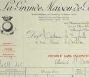 Duchess of Maillé Fine Linens Receipt, 1928-detail 2-10556M