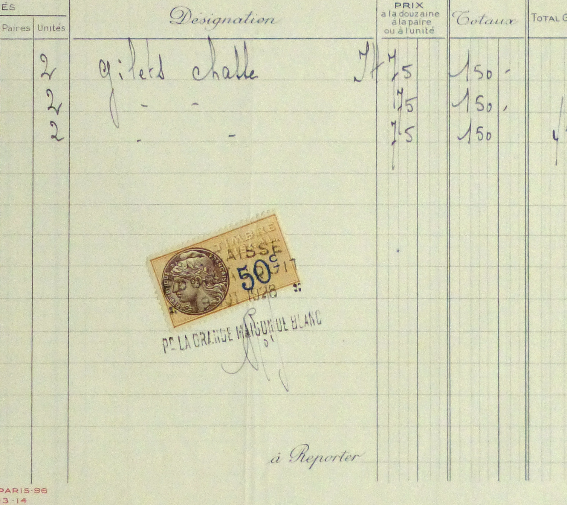 Duchess of Maillé Fine Linens Receipt, 1928-detail-10556M