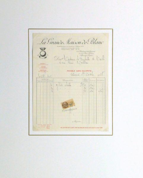 Duchess of Maillé Fine Linens Receipt, 1928-matted-10556M