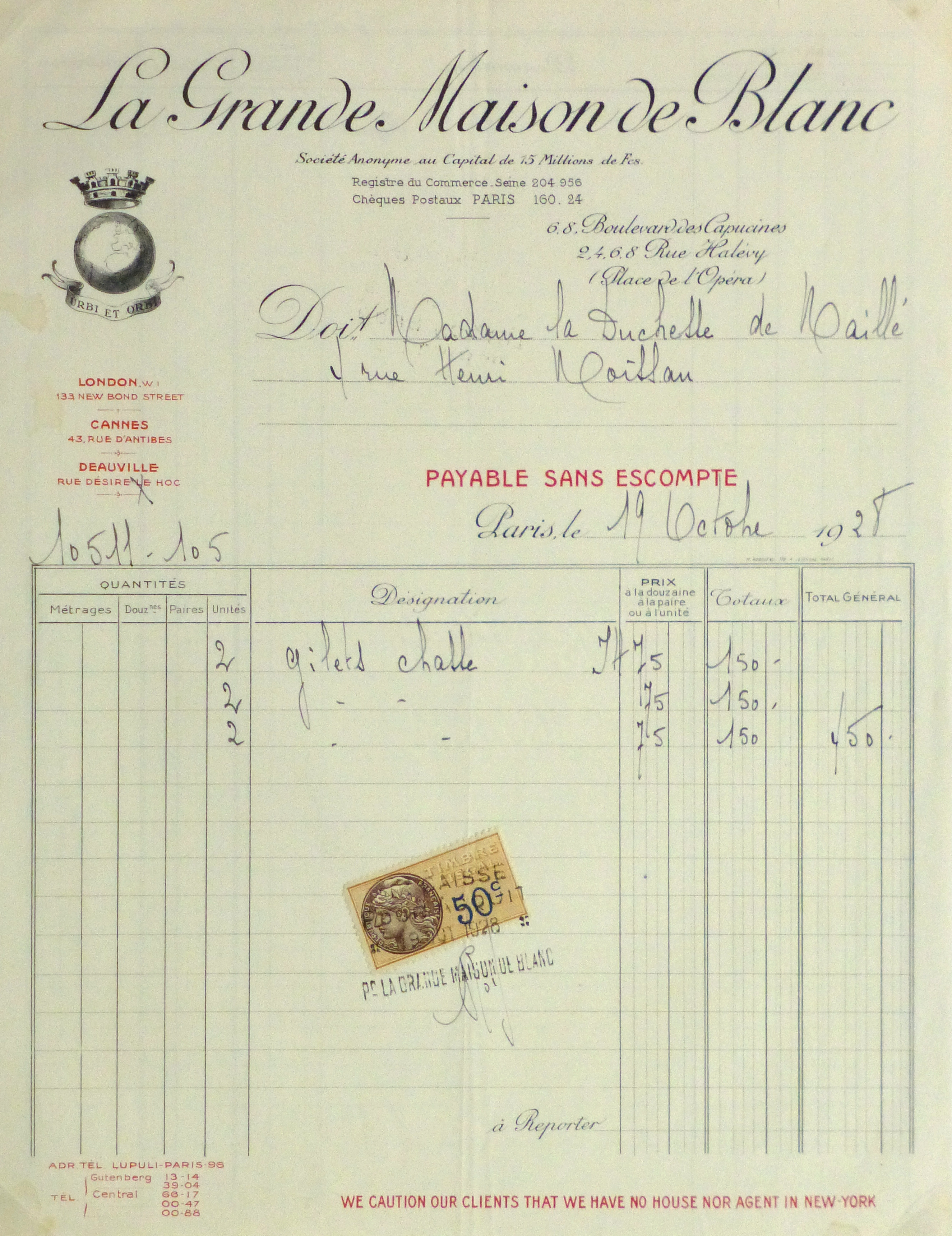 Duchess of Maillé Fine Linens Receipt, 1928-main-10556M