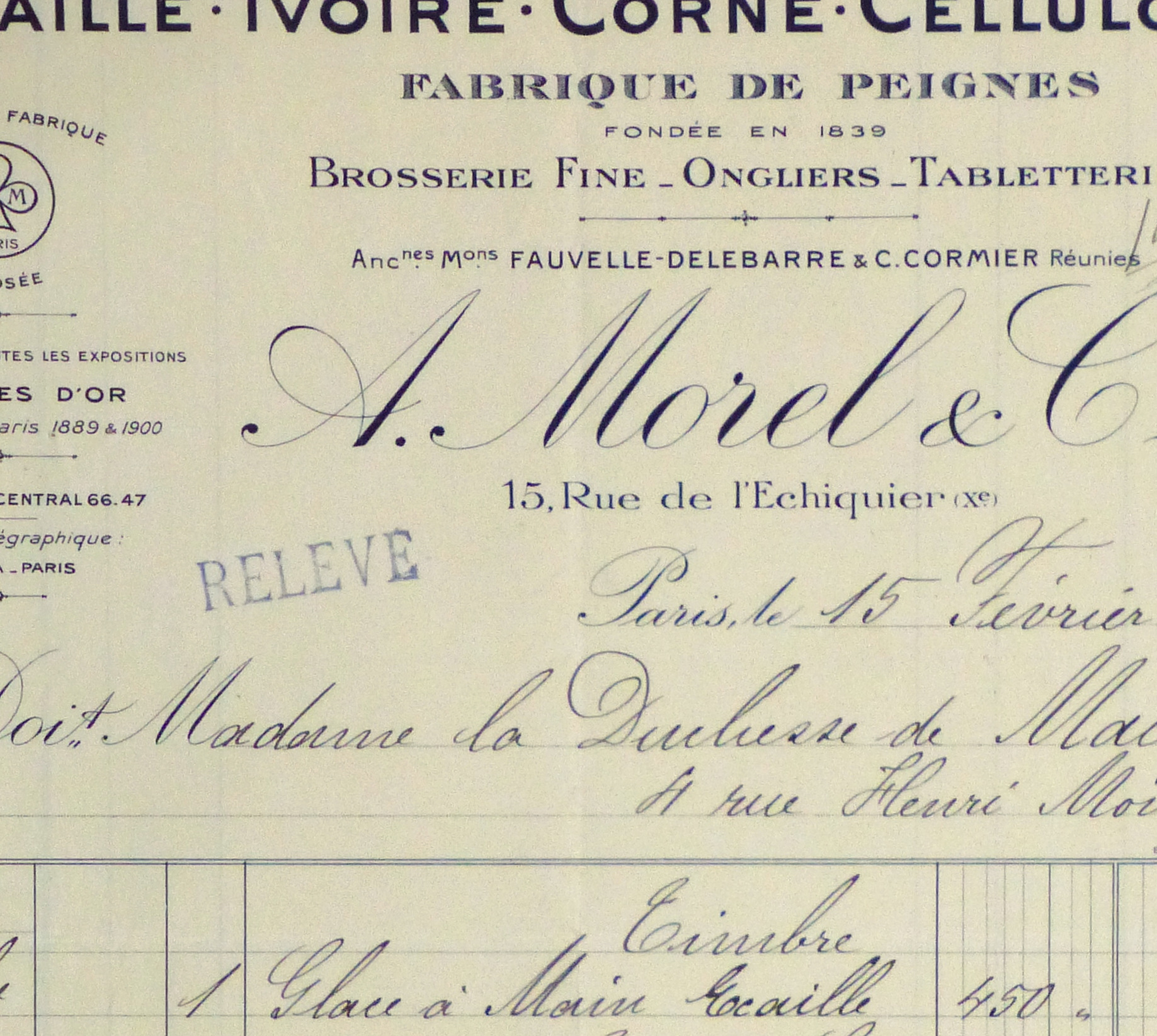 Duchess of Maillé Fine Linens Receipt, 1928-detail 2-10557M
