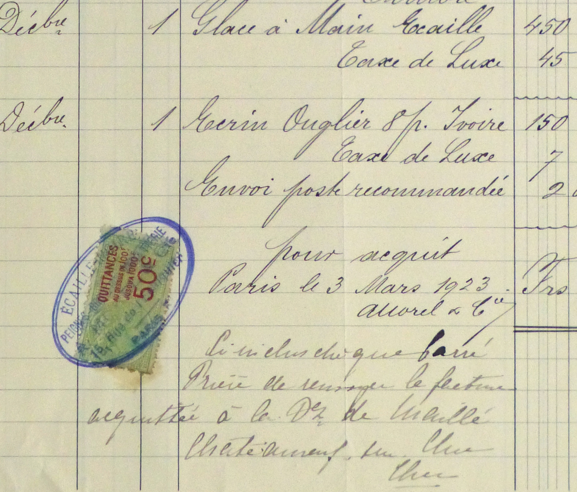 Duchess of Maillé Fine Linens Receipt, 1928-detail-10557M