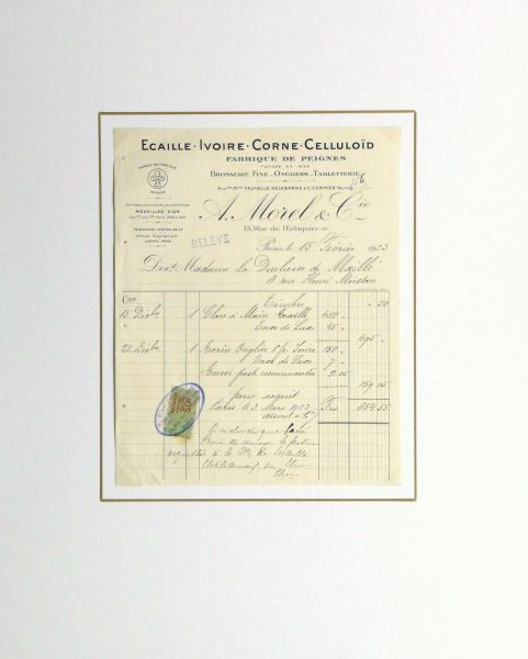 Duchess of Maillé Fine Linens Receipt, 1928-matted10557M