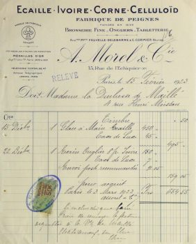 Duchess of Maillé Fine Linens Receipt, 1928-main-10557M