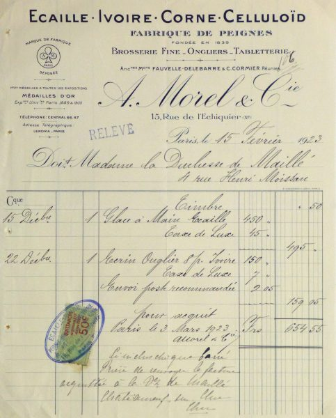 Duchess of Maillé Fine Linens Receipt, 1928-main-10557M