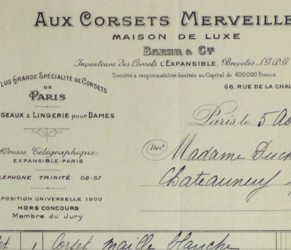 Duchess of Maillé Linens Receipt, 1932-detail 2-10558M