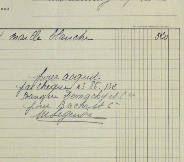 Duchess of Maillé Linens Receipt, 1932-detail-10558M