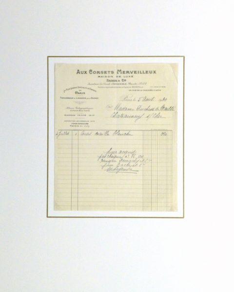 Duchess of Maillé Linens Receipt, 1932-matted-10558M