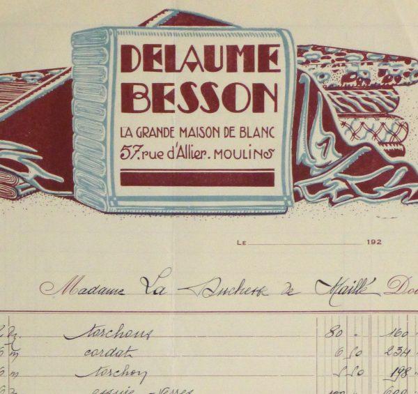 Duchess of Maillé Linens Receipt, 1932-detail2-10559M