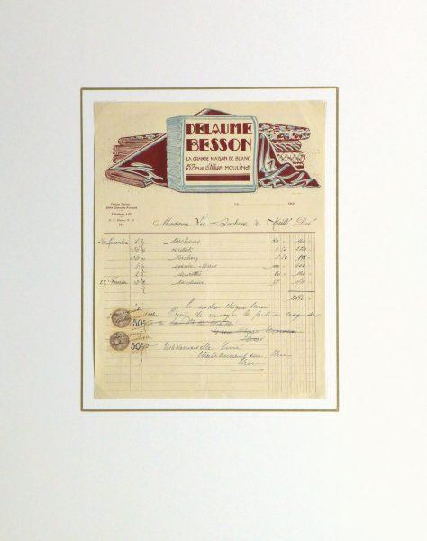 Duchess of Maillé Linens Receipt, 1932-matted-10559M