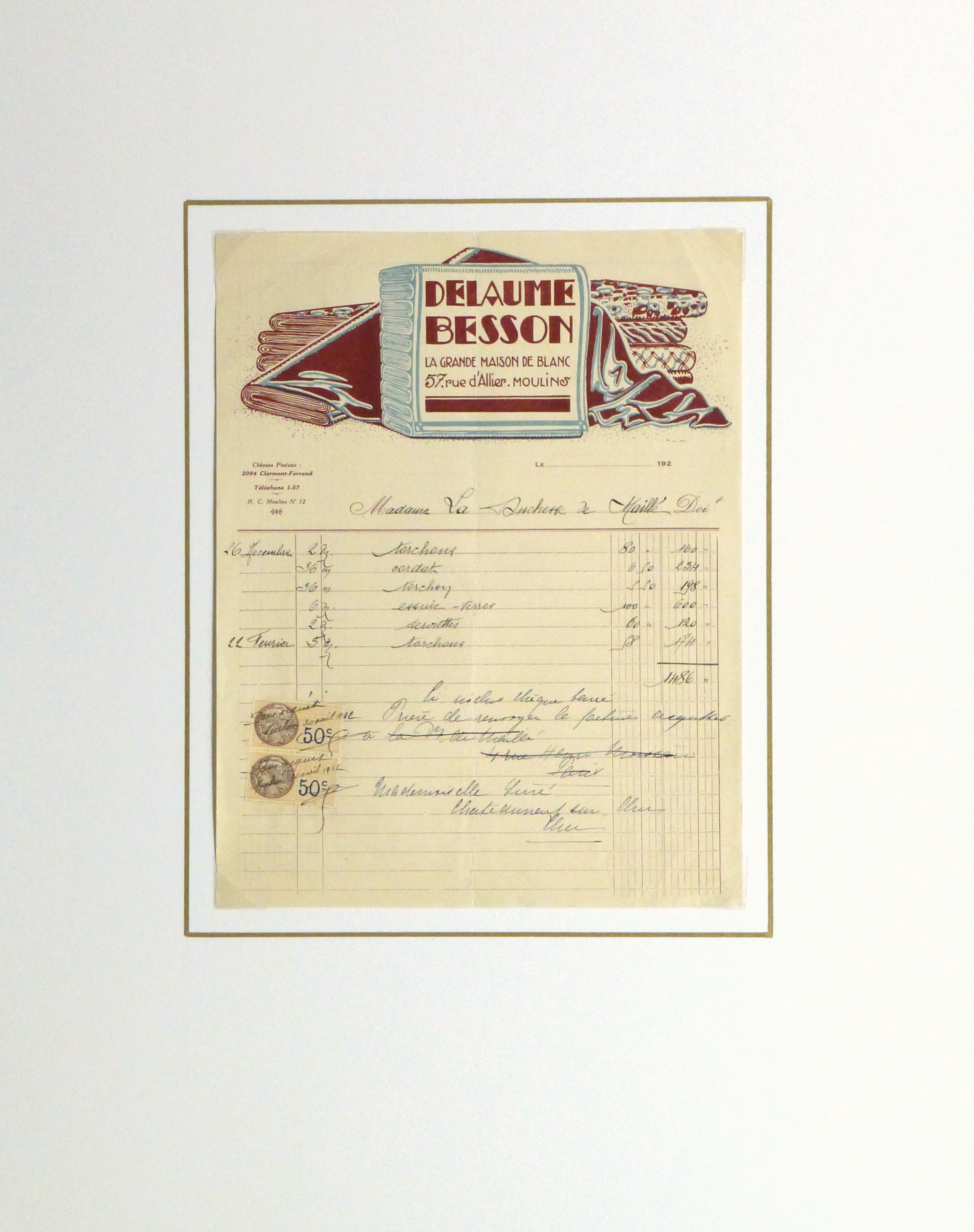 Duchess of Maillé Linens Receipt, 1932-matted-10559M