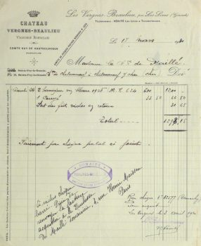 Duchess of Maillé Wine Receipt, 1930-main-10560M