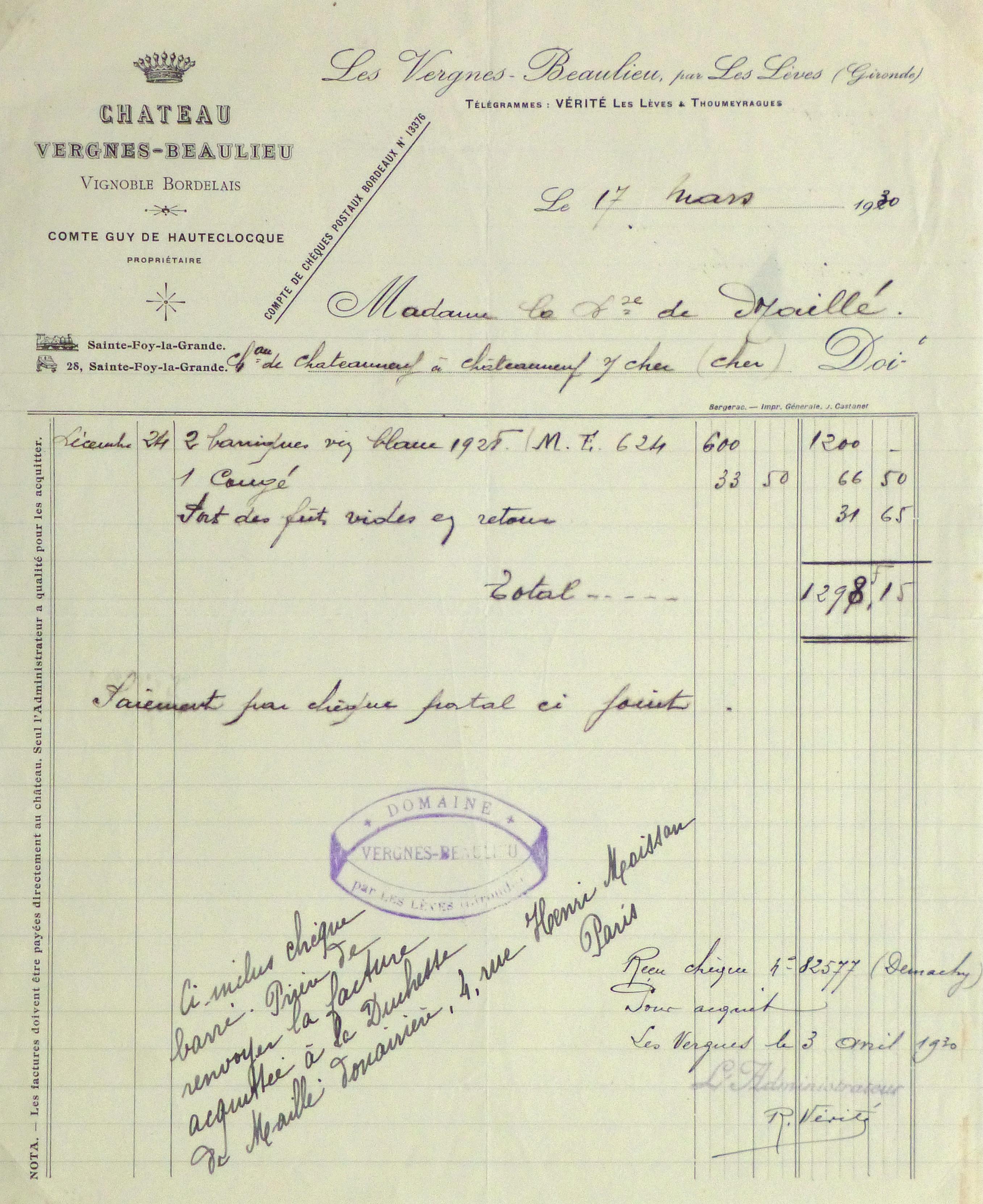 Duchess of Maillé Wine Receipt, 1930-main-10560M