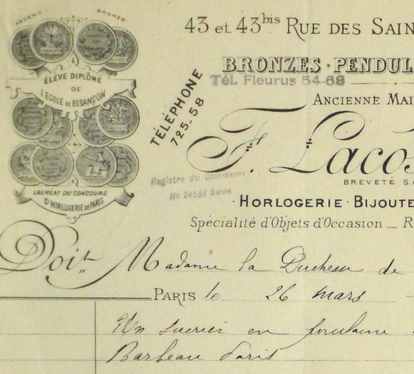 Duchess of Maillé Art Receipt, 1927-detail 2-10562M