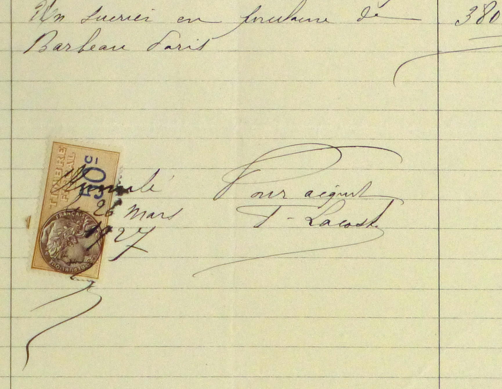 Duchess of Maillé Art Receipt, 1927-detail-10562M