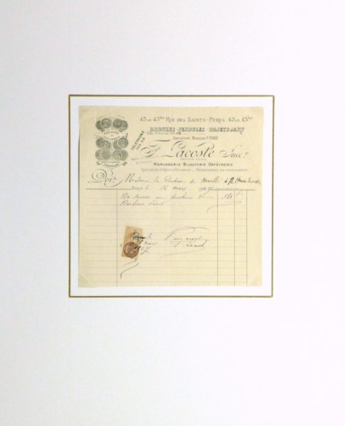 Duchess of Maillé Art Receipt, 1927-matted-10562M