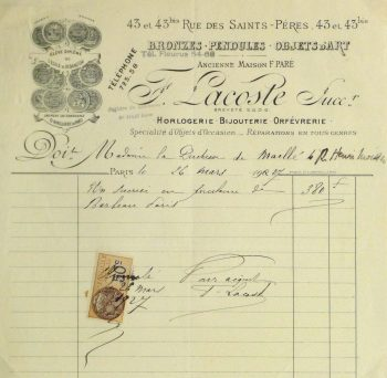 Duchess of Maillé Art Receipt, 1927-main-10562M