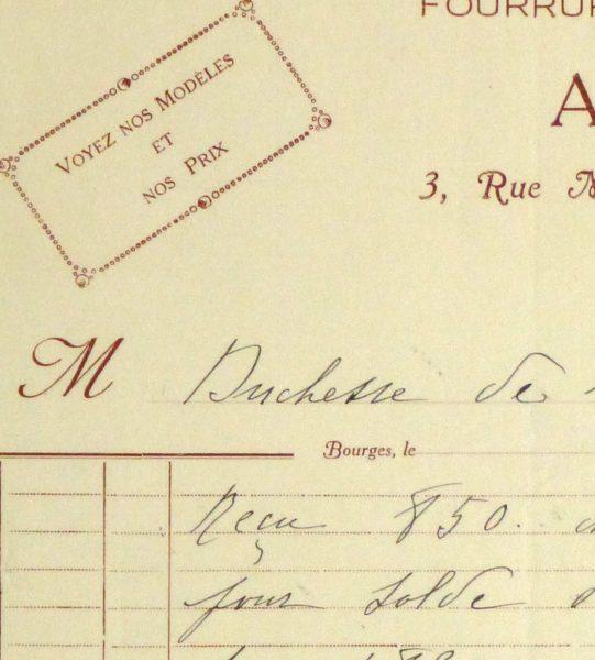 Duchess of Maillé Furs Receipt, Circa 1920-detail 2-10564M