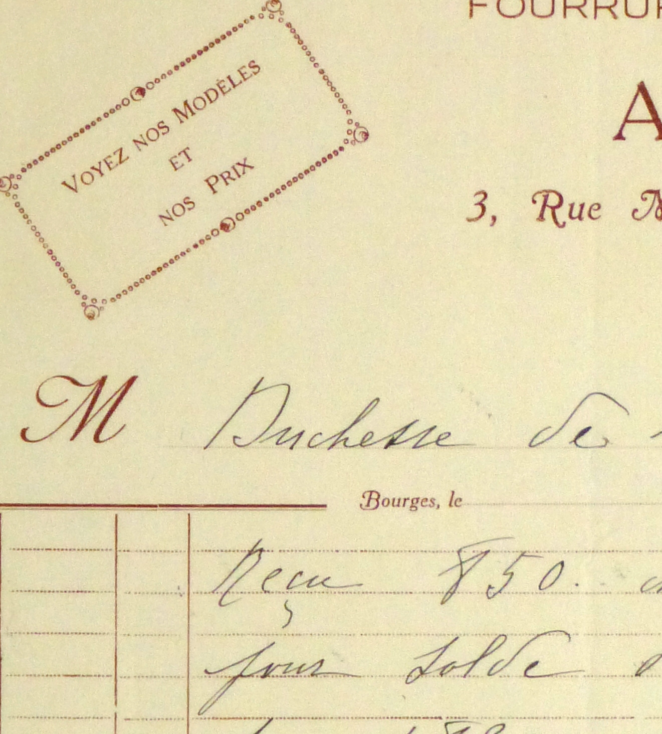 Duchess of Maillé Furs Receipt, Circa 1920-detail 2-10564M