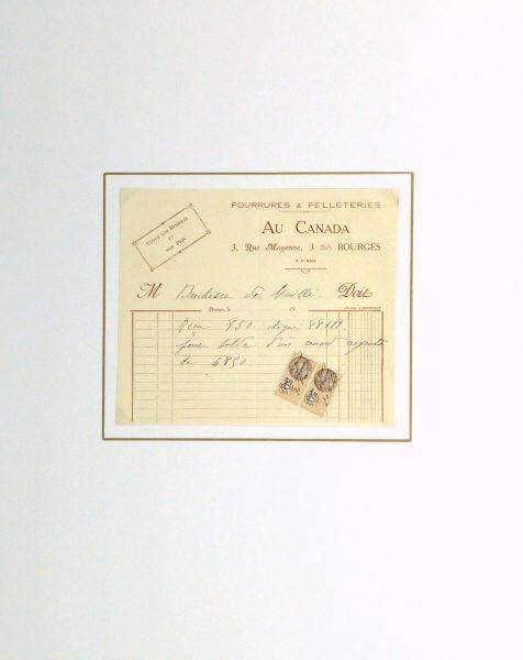 Duchess of Maillé Furs Receipt, Circa 1920-matted-10564M