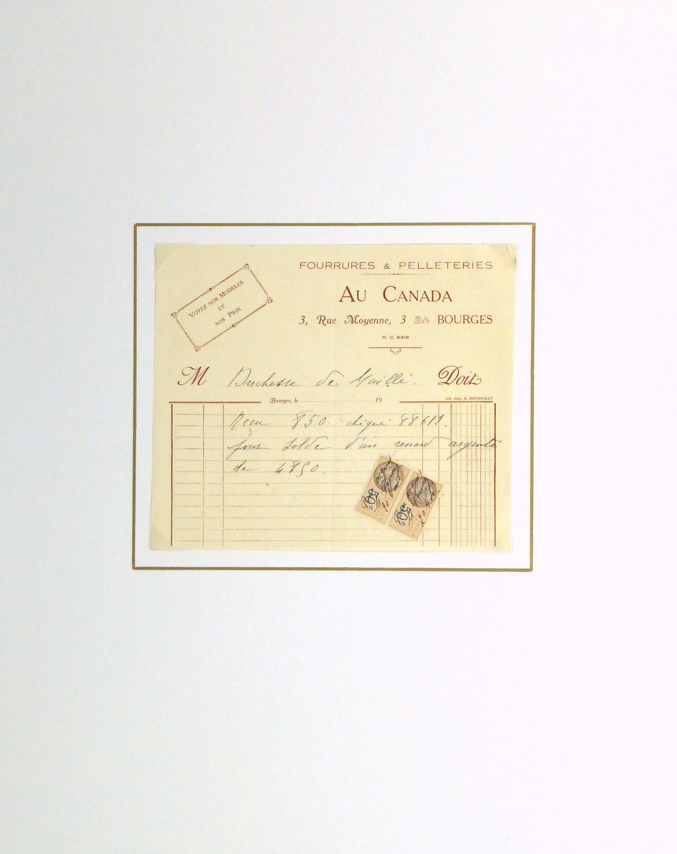 Duchess of Maillé Furs Receipt, Circa 1920-matted-10564M