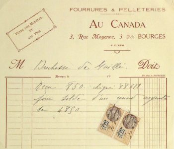 Duchess of Maillé Furs Receipt, Circa 1920-main-10564M