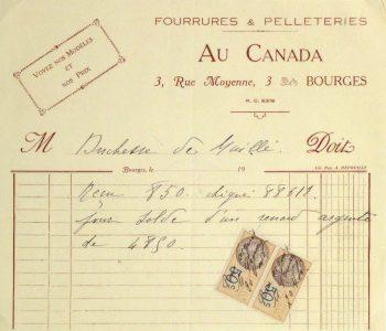 Duchess of Maillé Furs Receipt, Circa 1920-main-10564M
