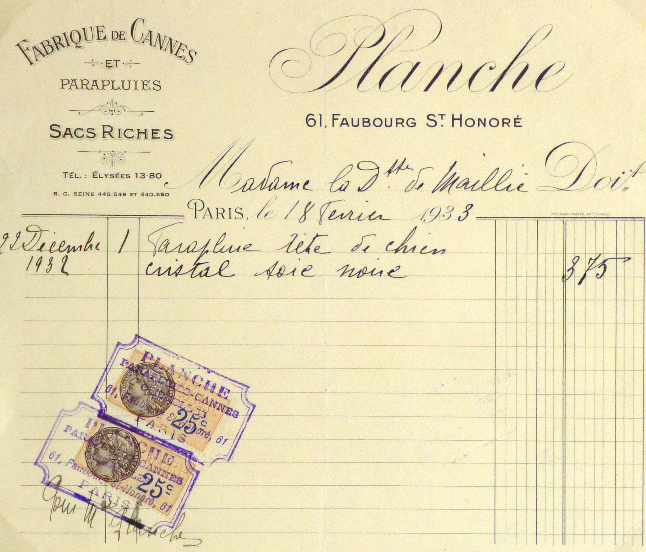 Duchess of Maillé Silk Bag Receipt, 1933-main-10565M