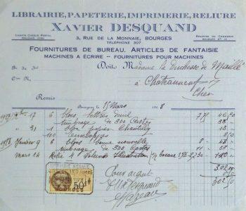 Duchess of Maillé Book Receipt, 1928-main-10566M