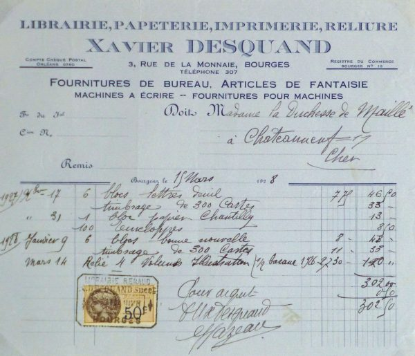 Duchess of Maillé Book Receipt, 1928-main-10566M