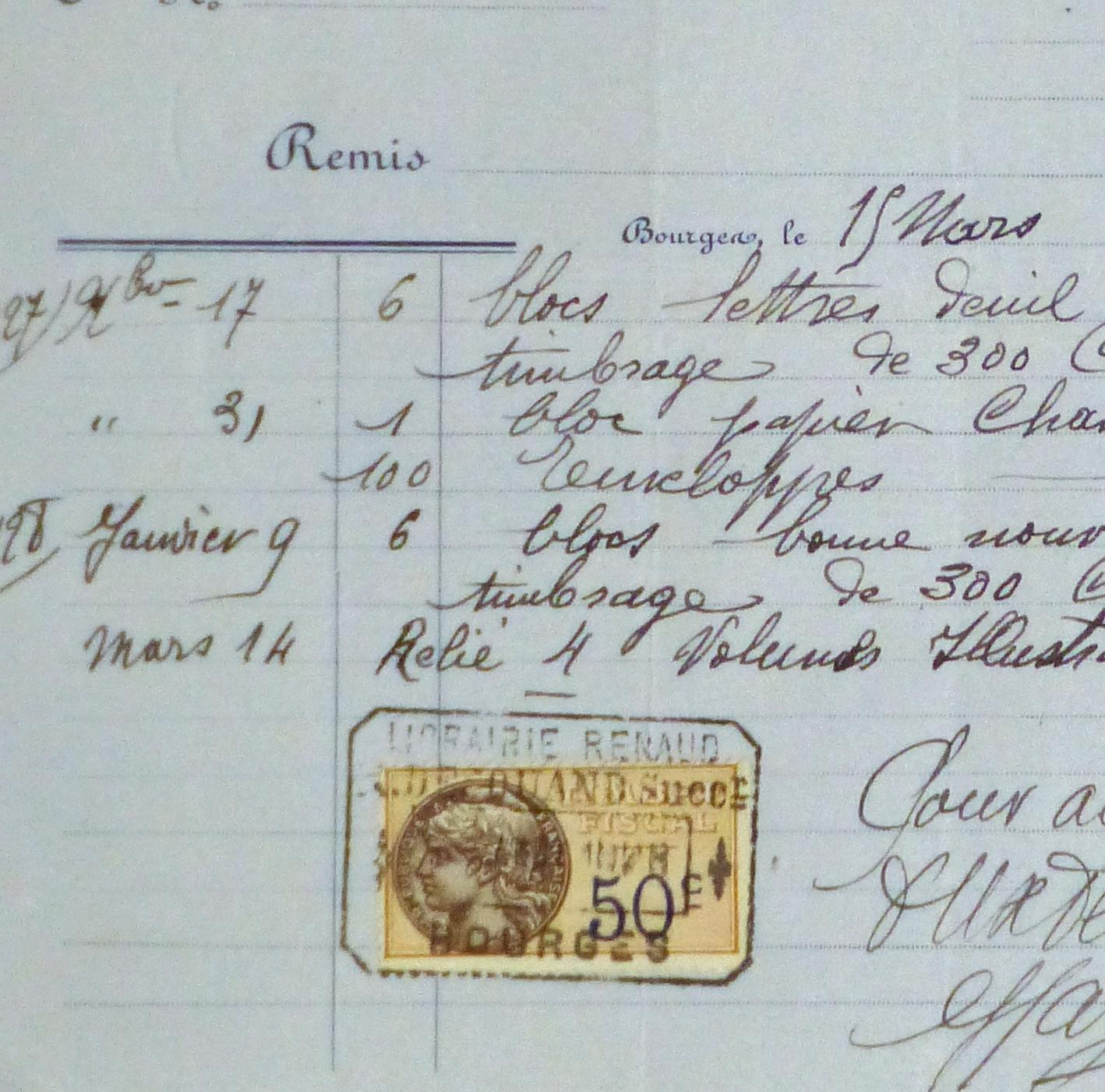 Duchess of Maillé Book Receipt, 1928-detail 2-10566M