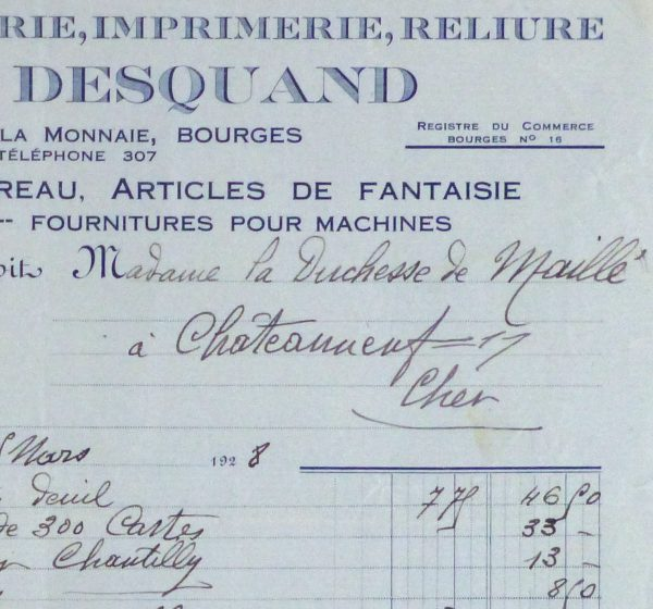 Duchess of Maillé Book Receipt, 1928-detail-10566M