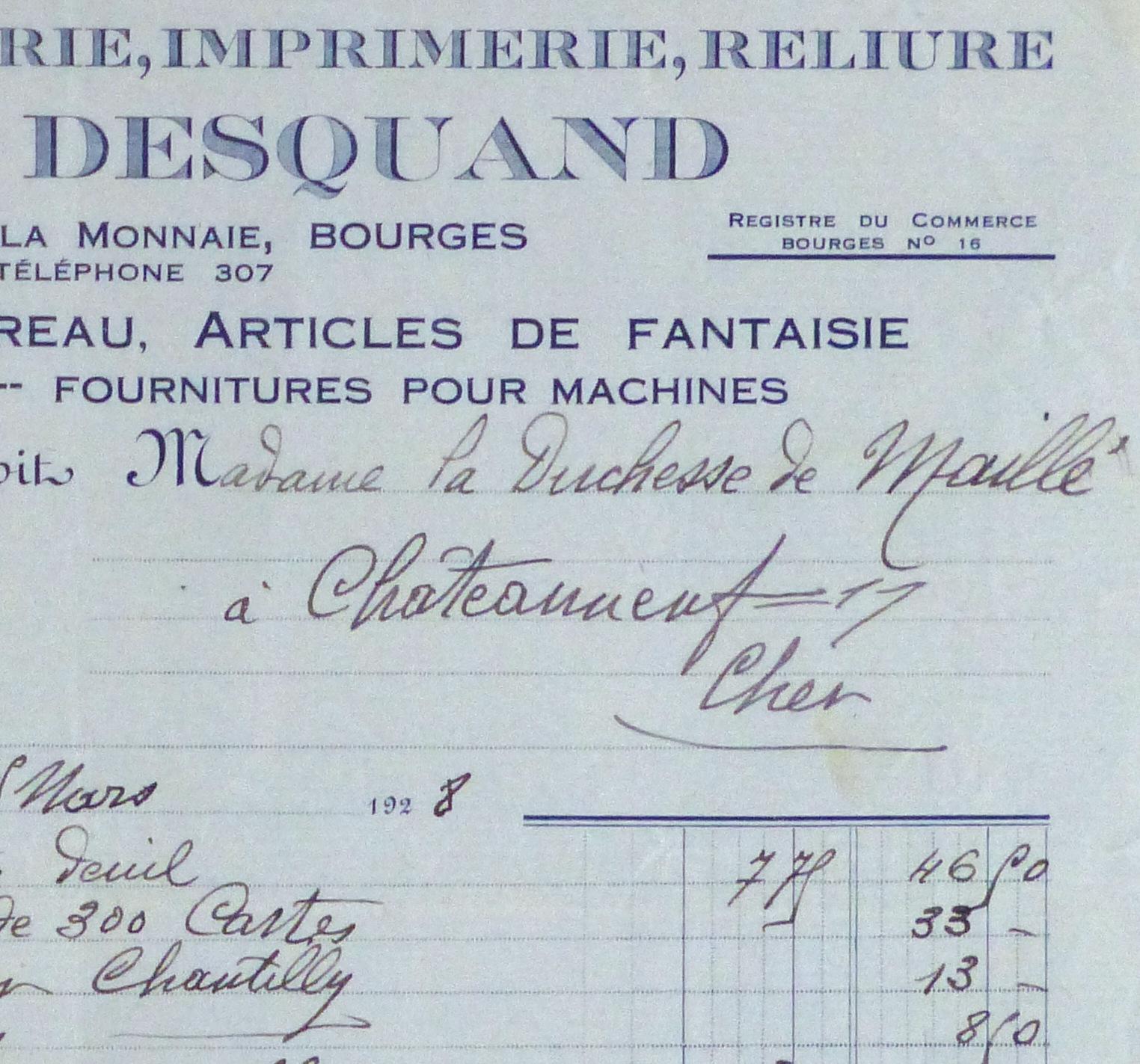 Duchess of Maillé Book Receipt, 1928-detail-10566M