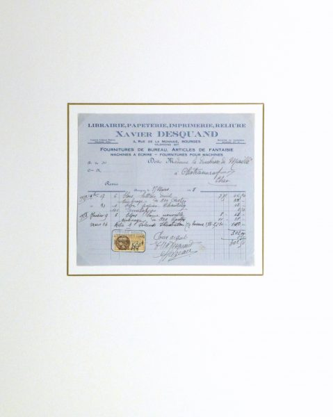 Duchess of Maillé Book Receipt, 1928-matted-10566M