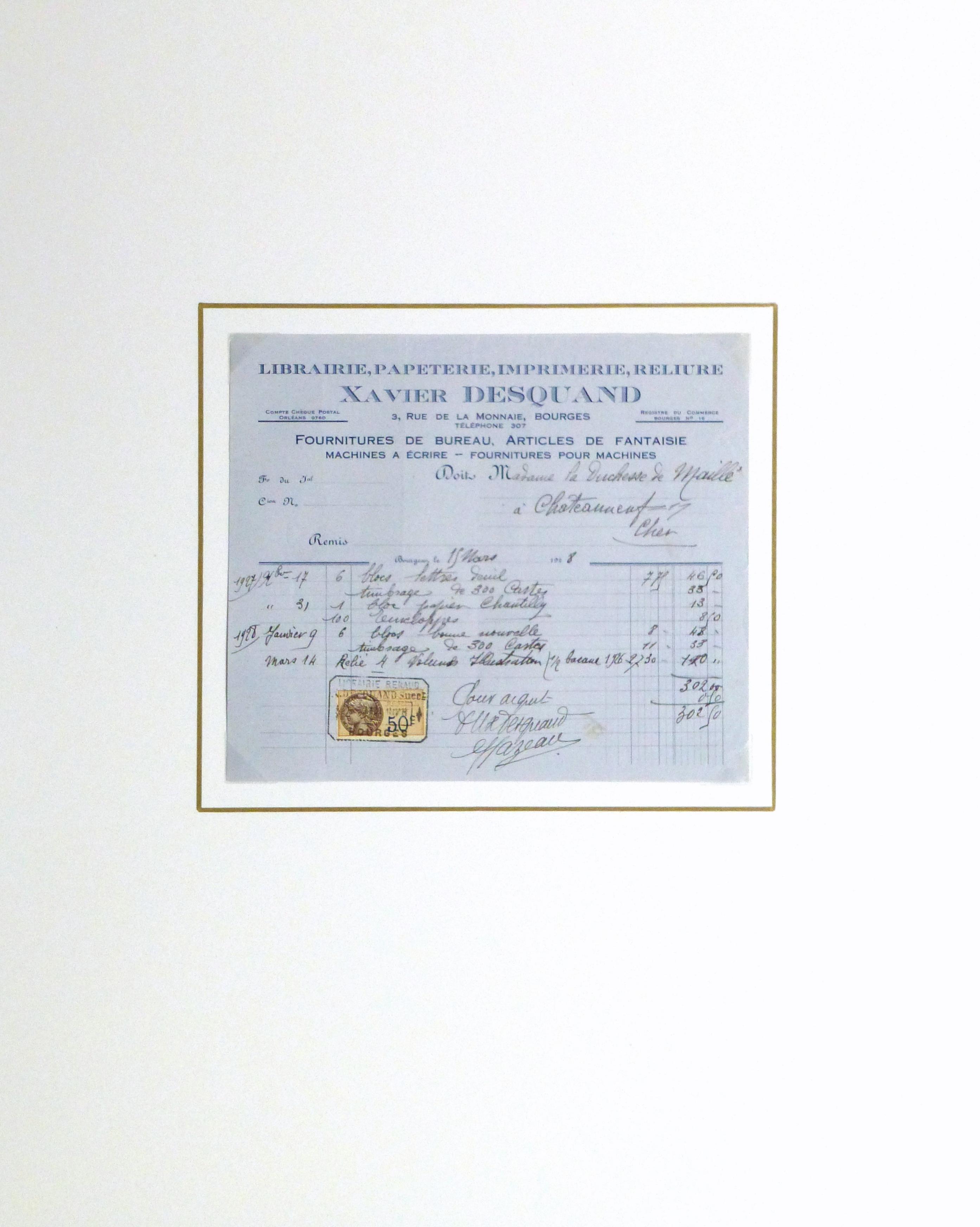 Duchess of Maillé Book Receipt, 1928-matted-10566M