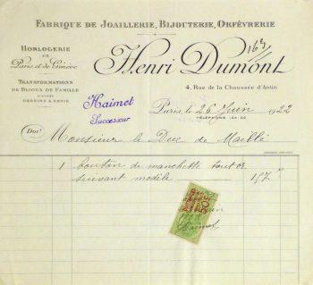 Duchess of Maillé Jewelry Receipt, 1922-main-10567M