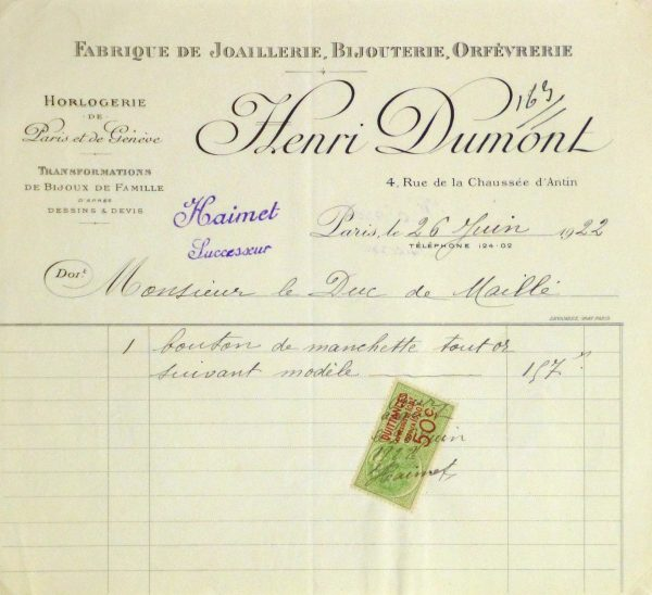 Duchess of Maillé Jewelry Receipt, 1922-main-10567M