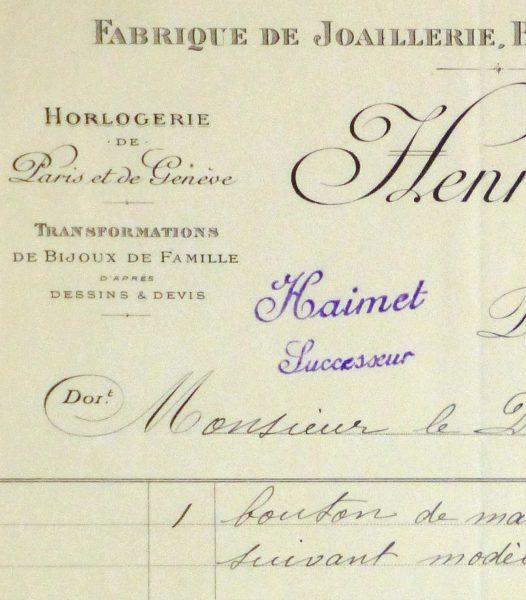 Duchess of Maillé Jewelry Receipt, 1922-detail10567M