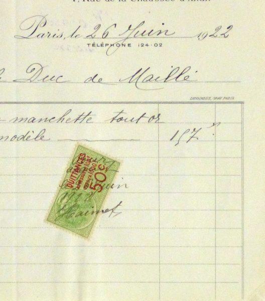 Duchess of Maillé Jewelry Receipt, 1922-detail 2-10567M