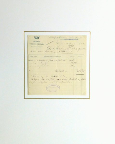 Duchess of Maillé Jewelry Receipt, 1922-matted-10567M