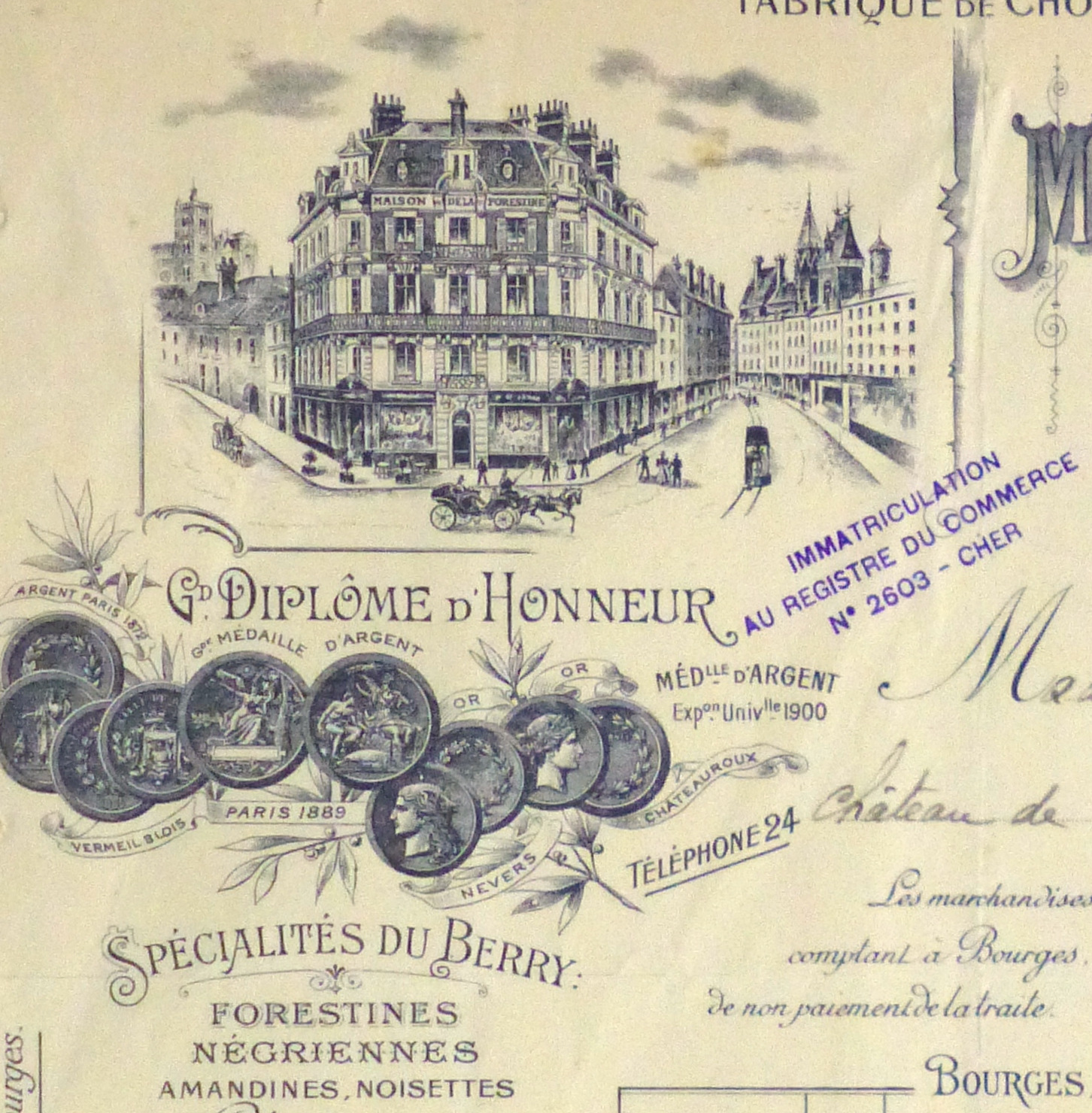 Duchess of Maillé Confections Receipt, 1926-detail 2-10568K